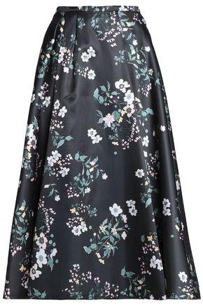 ROCHAS Floral-print duchesse satin midi skirt