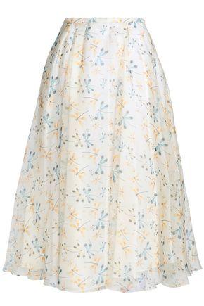 ROCHAS Printed silk-organza midi skirt