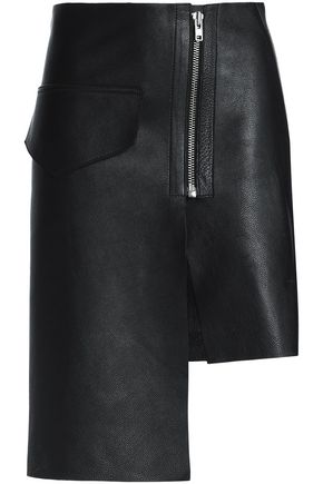 OAK Moto asymmetric leather skirt