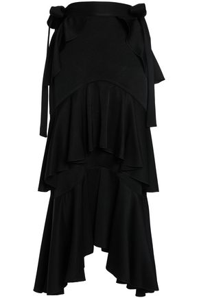 ELLERY Tiered satin-crepe maxi skirt