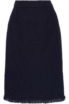 OSCAR DE LA RENTA Fringed cotton-blend tweed skirt