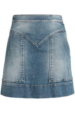 Just Cavalli Woman Faded Denim Mini Skirt Mid Denim