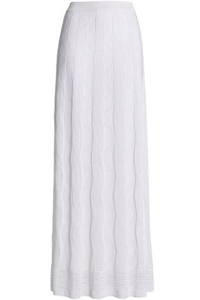 M MISSONI Pleated crochet-knit cotton-blend maxi skirt