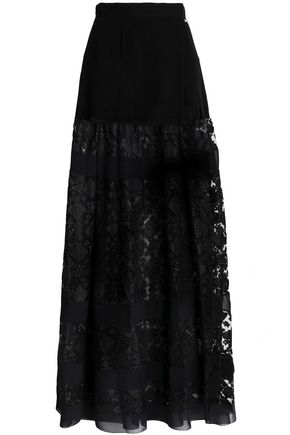 JUST CAVALLI Embroidered tulle and crepe maxi skirt