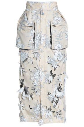 MAISON MARGIELA Frayed printed cotton and linen-blend twill midi skirt