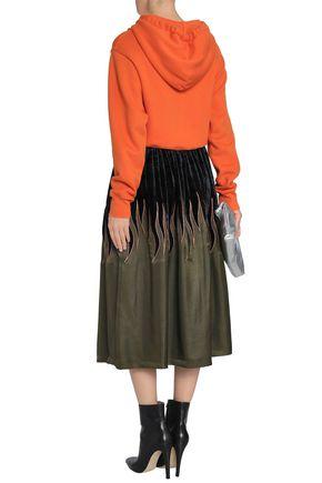 MAISON MARGIELA Metallic embroidered twill and velvet midi skirt