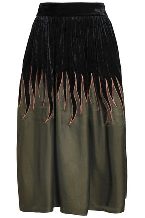 MAISON MARGIELA Metallic embroidered twill and velvet midi skirt