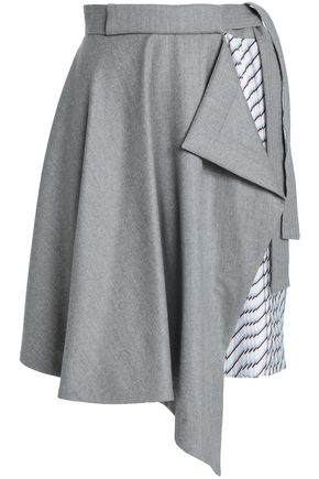 CARVEN Draped brushed-wool and striped twill skirt