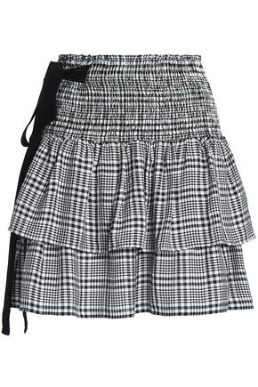 BAUM UND PFERDGARTEN Shirred tiered gingham twill mini skirt