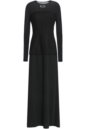 MM6 MAISON MARGIELA Mesh-paneled wool-blend maxi dress