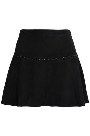 JOIE Fluted studded suede mini skirt