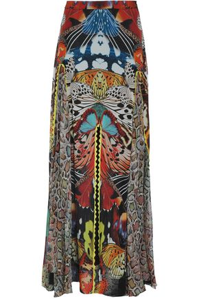 ROBERTO CAVALLI Fluted printed silk-georgette maxi skirt