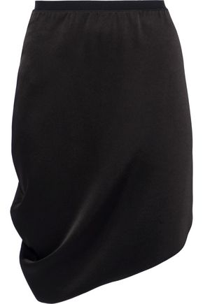 HALSTON HERITAGE Asymmetric draped sateen mini skirt
