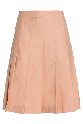 MARNI Pleated cotton and linen-blend twill skirt