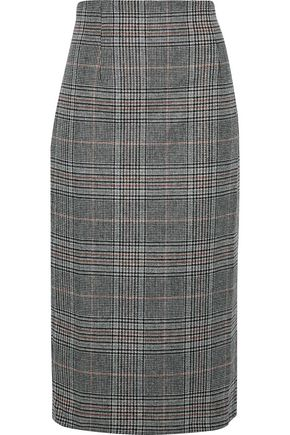 IRIS & INK Steele Prince of Wales checked wool-blend skirt