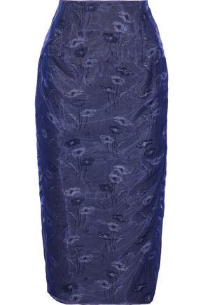 MAISON MARGIELA Printed floral-jacquard cotton-organza midi skirt