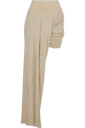 RICK OWENS Layered rib-paneled crepe de chine shorts