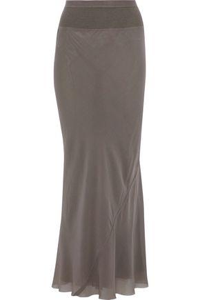RICK OWENS Rib-paneled silk-crepe maxi skirt