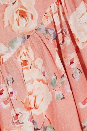 LOVE SAM Ruffle-trimmed floral-print crepe de chine wrap skirt