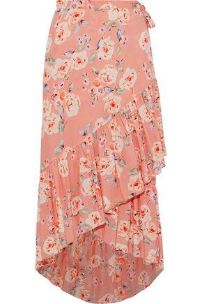 LOVE SAM Ruffled floral-print crepe de chine wrap skirt