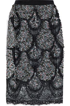 MAISON MARGIELA Embellished checked woven and lace skirt