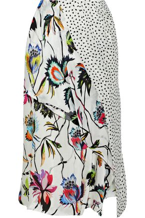 JASON WU Paneled printed silk-georgette skirt