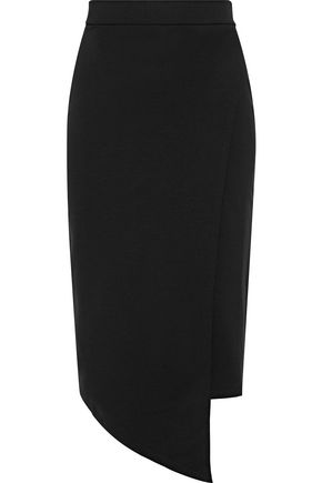 IRIS & INK Asymmetric wrap-effect ponte skirt
