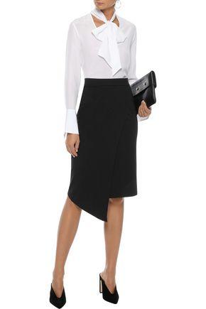 IRIS & INK Asymmetric wrap-effect ponte skirt