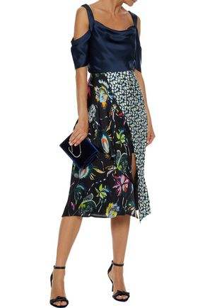 JASON WU Paneled floral-print silk-georgette skirt