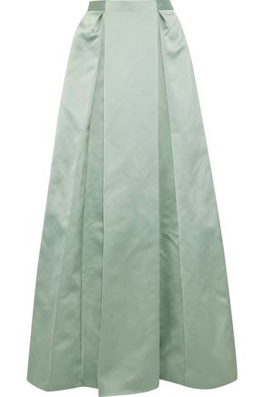 ZAC POSEN Pleated satin maxi skirt