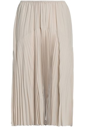 VINCE. Plissé-paneled crepe de chine midi skirt
