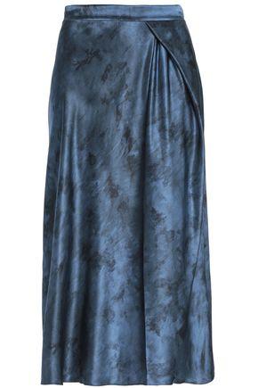 VINCE. Wrap-effect silk-satin midi skirt