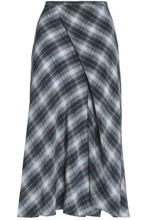 VINCE. Wrap-effect checked silk crepe de chine midi skirt