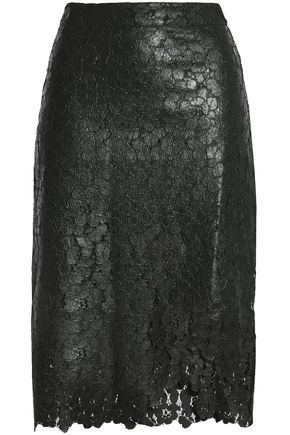 HOUSE OF HOLLAND Wrap-effect coated corded lace skirt