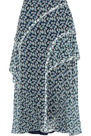 JASON WU Ruffle-trimmed printed silk-georgette skirt