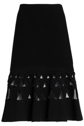 OSCAR DE LA RENTA Frayed cutout wool-blend tulle and crepe skirt
