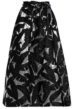 OSCAR DE LA RENTA Metallic jacquard midi skirt