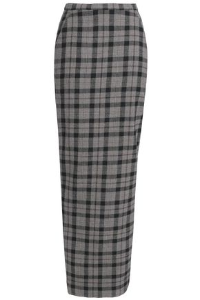 RICK OWENS Checked wrap-effect wool maxi skirt