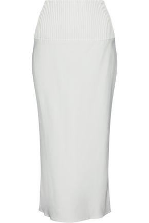 BRANDON MAXWELL Pintucked crepe midi skirt