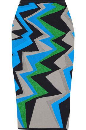 M MISSONI Metallic jacquard-knit cotton-blend pencil skirt