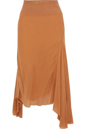 RICK OWENS Frayed silk-gauze skirt