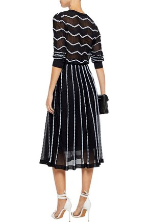M MISSONI Pleated metallic jacquard-knit cotton-blend midi skirt