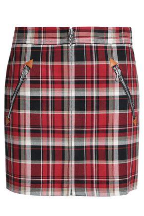Checked cotton-twill mini skirt