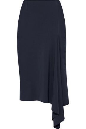 IRIS & INK Tatiana asymmetric draped stretch-knit skirt