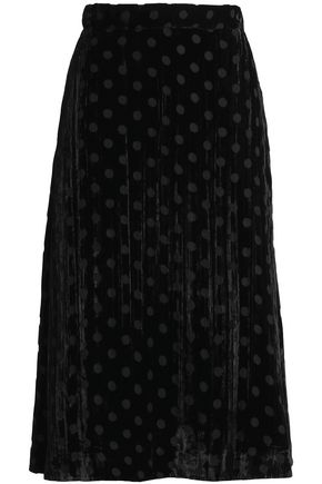 HOUSE OF HOLLAND Pleated polka-dot devoré-chiffon midi skirt