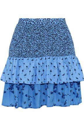 BAUM UND PFERDGARTEN Salwa tiered printed seersucker mini skirt