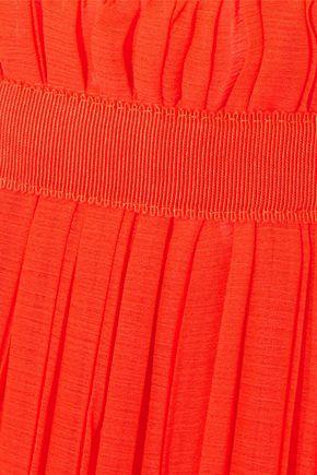 BAUM UND PFERDGARTEN Grosgrain-trimmed pleated georgette skirt