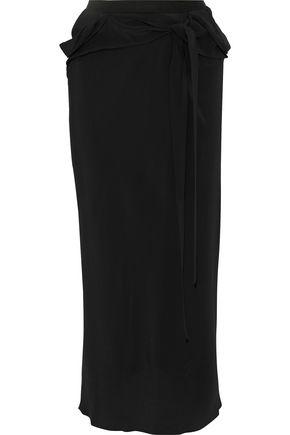 RICK OWENS Belted draped crepe midi skirt