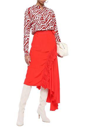 PREEN LINE Gracia asymmetric ruched crepe de chine midi skirt