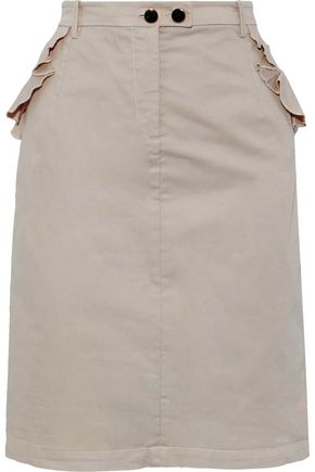 BAUM UND PFERDGARTEN Samantha ruffle-trimmed stretch-cotton poplin skirt